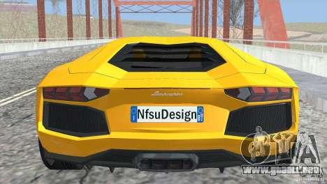 Lamborghini Aventador LP700-4 2012 para visión interna GTA San Andreas