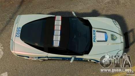 Chevrolet Corvette ZR1 Police para GTA 4 visión correcta
