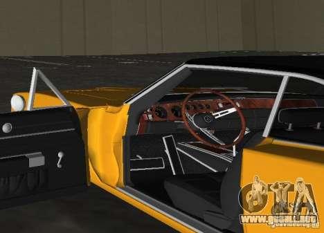 Dodge Charger RT 1969 para GTA Vice City vista posterior