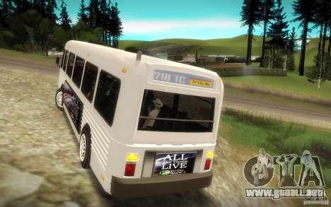 NFS Undercover Bus para GTA San Andreas vista hacia atrás