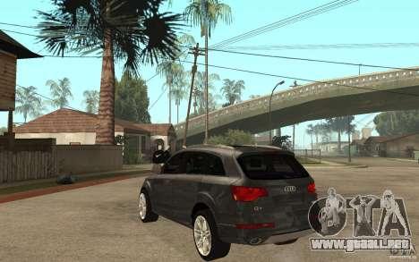 Audi Q7 TDI 2009 para GTA San Andreas vista posterior izquierda