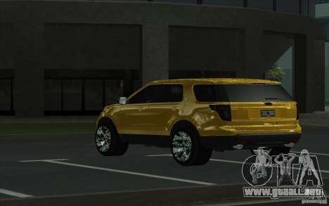 Ford Explorer Limited 2013 para GTA San Andreas vista posterior izquierda