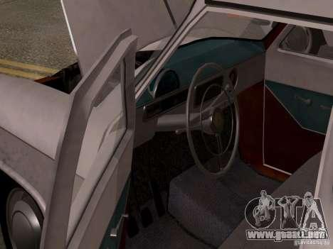 GAZ 21 Volga para GTA San Andreas vista hacia atrás
