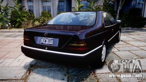 Mercedes-Benz 600SEC C140 1992 v1.0 para GTA 4 Vista posterior izquierda
