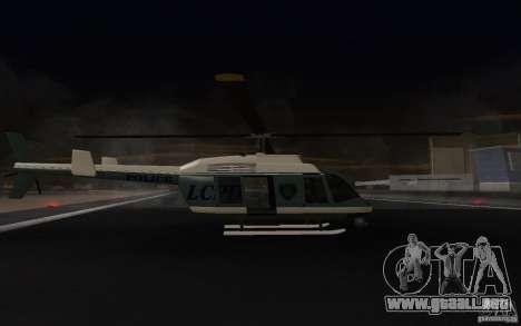 GTA IV Police Maverick para GTA San Andreas vista posterior izquierda