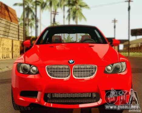BMW M3 E92 v2.0 para GTA San Andreas vista hacia atrás