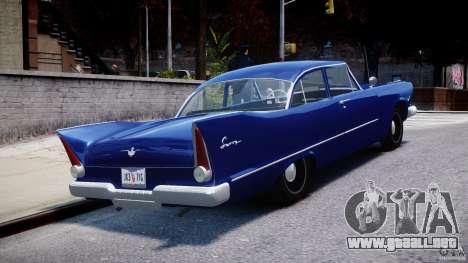 Plymouth Savoy Club Sedan 1957 para GTA 4 vista lateral