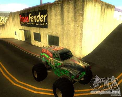 Grave Digger para GTA San Andreas vista hacia atrás
