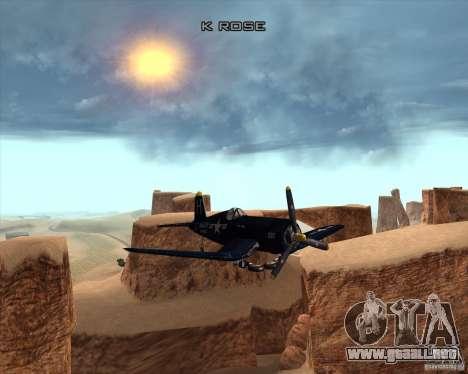 Aereo Corsair F4U1D para vista lateral GTA San Andreas