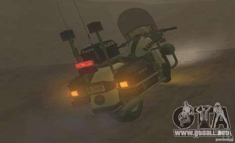 Motocicleta de la policía de GTA TBoGT para GTA San Andreas vista posterior izquierda