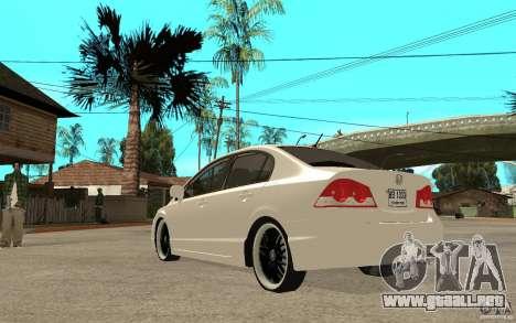Honda Civic FD para GTA San Andreas vista posterior izquierda