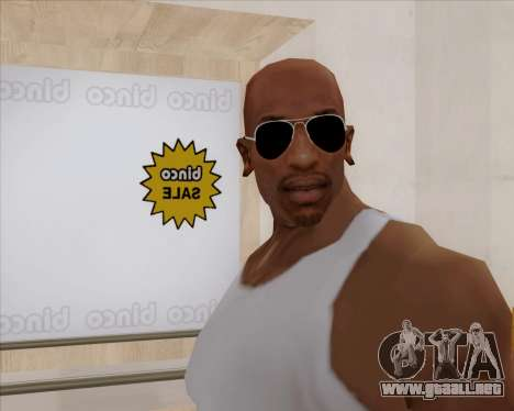 Gafas de sol aviador negro para GTA San Andreas tercera pantalla