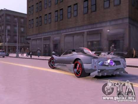 Pagani Zonda Cinque Roadster v 2.0 para GTA 4 vista hacia atrás
