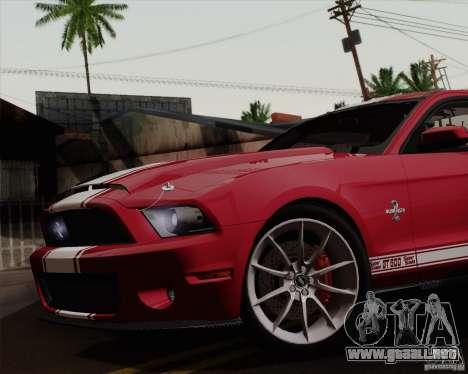 Ford Shelby GT500 Super Snake 2011 para GTA San Andreas vista posterior izquierda