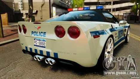 Chevrolet Corvette ZR1 Police para GTA 4 Vista posterior izquierda