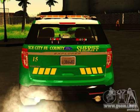 Ford Explorer 2011 VCPD Police para GTA San Andreas vista posterior izquierda