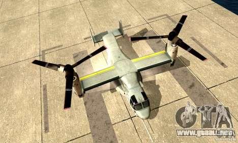 MV-22 Osprey para GTA San Andreas vista posterior izquierda