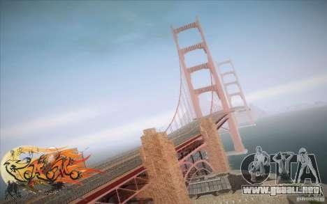 New Golden Gate bridge SF v1.0 para GTA San Andreas sucesivamente de pantalla