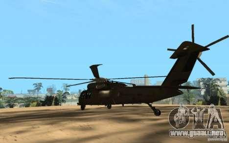 UH-60 Silent Hawk para GTA San Andreas vista posterior izquierda