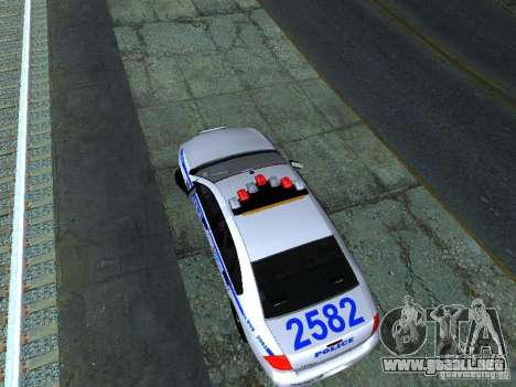 Chevrolet Impala NYPD para GTA San Andreas vista hacia atrás