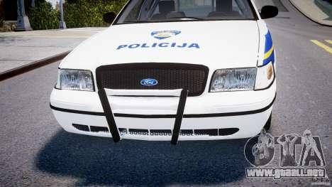 Ford Crown Victoria Croatian Police Unit para GTA 4 vista desde abajo