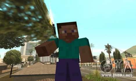 Steve de la piel de Minecraft juego para GTA San Andreas tercera pantalla