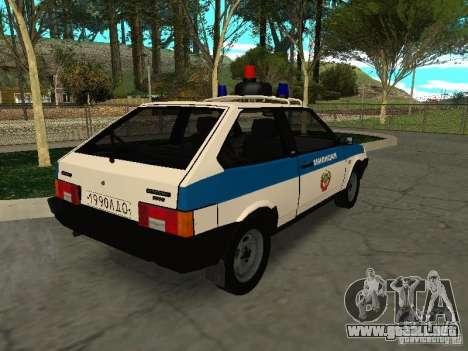 VAZ 2108 policía para GTA San Andreas vista posterior izquierda