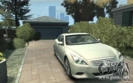 Infiniti G37 S para GTA 4 vista hacia atrás