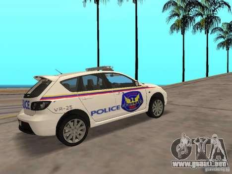Mazda 3 Police para GTA San Andreas vista posterior izquierda
