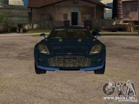 Aston Martin One77 para GTA San Andreas vista posterior izquierda