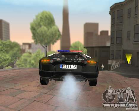 Lamborghini Aventador LP700-4 Police para visión interna GTA San Andreas