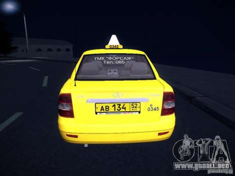 LADA Priora 2170 Taxi TMK Afterburner para vista lateral GTA San Andreas