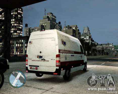 Mercedes Benz Sprinter American Medical Response para GTA 4 vista hacia atrás