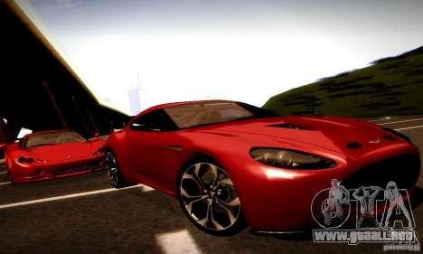 Aston Martin V12 Zagato Final para GTA San Andreas vista hacia atrás