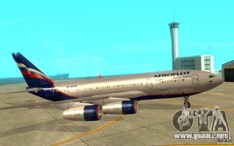 El IL-96-300 Aeroflot en nuevos colores para GTA San Andreas vista posterior izquierda