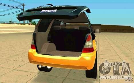 Subaru Forester Cross Sport 2005 para GTA San Andreas vista hacia atrás