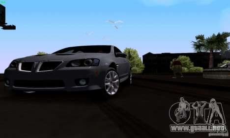 Pontiac G8 GXP para visión interna GTA San Andreas