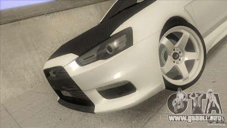 Mitsubishi Lancer Evo IX DIM para vista lateral GTA San Andreas