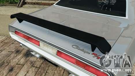 Dodge Challenger RT 1970 v2.0 para GTA 4 ruedas