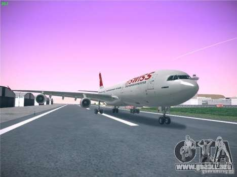 Airbus A340-300 Swiss International Airlines para GTA San Andreas vista posterior izquierda