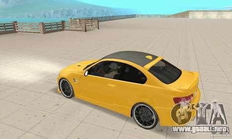 BMW M3 2008 Hamann v1.2 para vista lateral GTA San Andreas