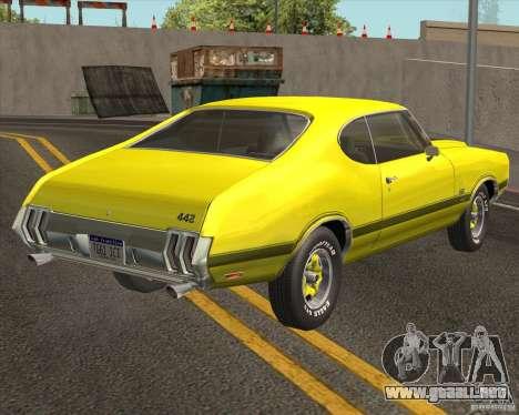 Oldsmobile 442 (fixed version) para GTA San Andreas vista posterior izquierda