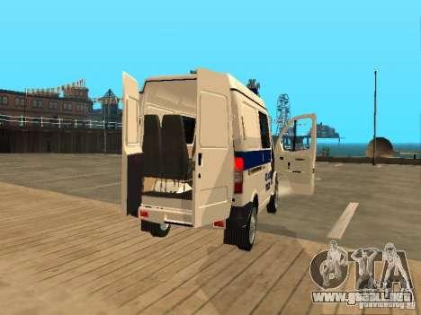 GAZ Sobol 2217 policía para GTA San Andreas vista hacia atrás