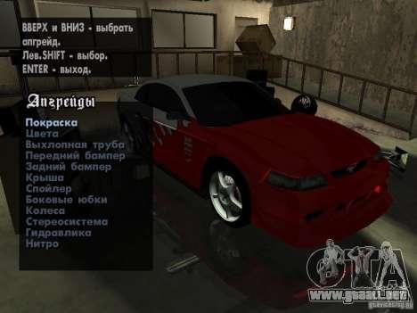 Ford Mustang Cobra R Tuneable para GTA San Andreas vista hacia atrás