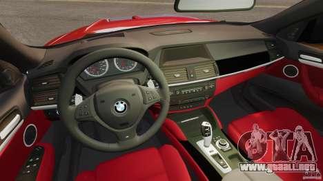BMW X6 M 2010 para GTA 4 vista hacia atrás