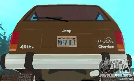 Jeep Grand Cherokee 1986 para visión interna GTA San Andreas