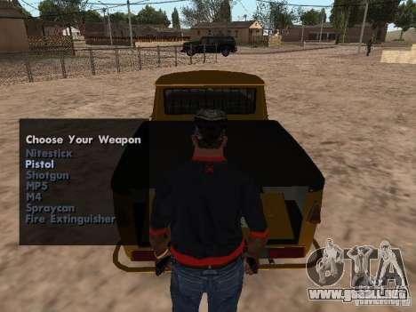 Armas en el maletero para GTA San Andreas sucesivamente de pantalla