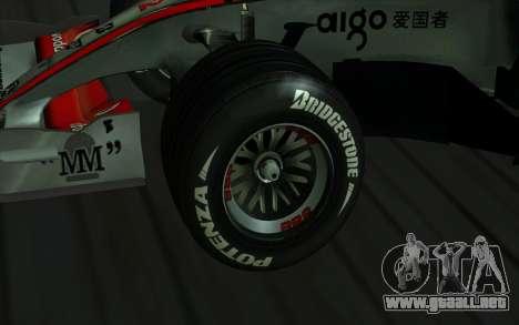 McLaren F1 para GTA San Andreas vista hacia atrás