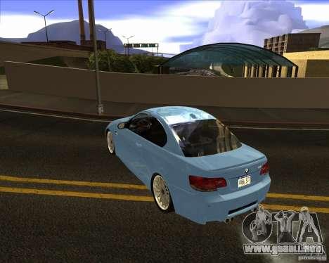 BMW M3 Convertible 2008 para GTA San Andreas vista posterior izquierda
