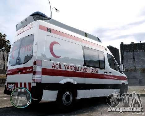 Mercedes Sprinter Turkish Ambulance para GTA 4 Vista posterior izquierda